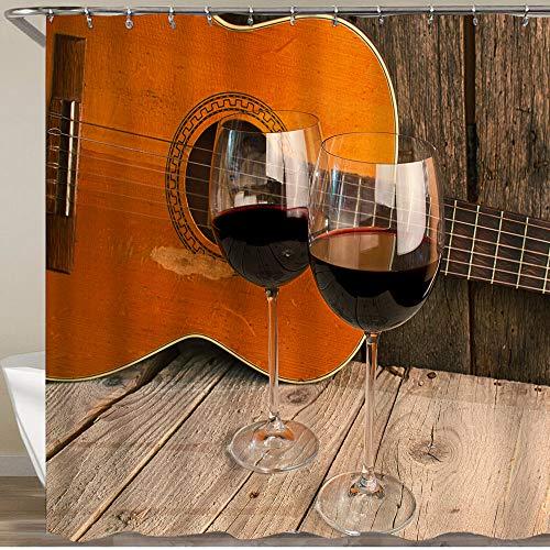 COFEIYISI Neueste Duschvorhänge Gitarre & Wein auf einem Holztisch romantischen Abendessen Hintergr& Wasserdicht Bad Vorhang Waschbar Bad Vorhang Polyester Stoff mit 12 Haken 180x180 cm