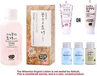 Whamisa Organic Flowers Toner for Face & Body | Natural Hydrating Moisturizer for Dry Sensitive Skin | with Natural Ingredients | 4.05 fl.oz. Facial Toner | Korean Skincare Kit with 4 Samples