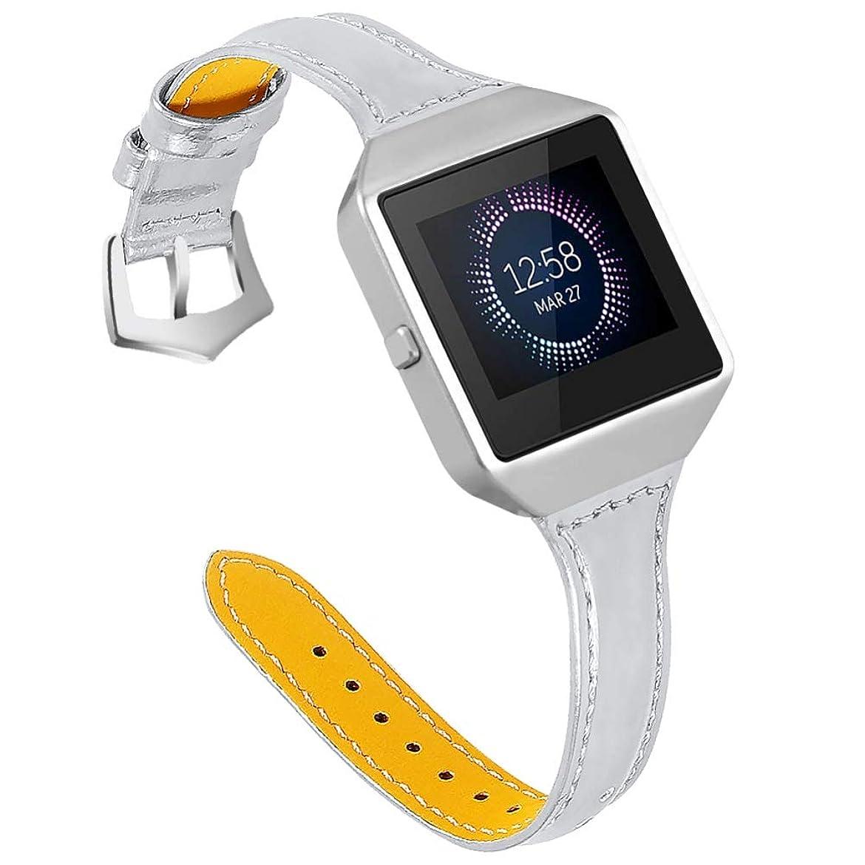 ピルファー監査難しいZeonetak for Fitbit Blaze バンド 交換用 時計 バンドフレーム Fitbit レザー スチールケース 多色 耐衝撃 脱着簡単 工具なしで調整 リリース