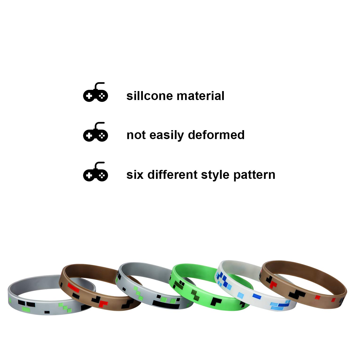 36 Pieces, Style 1 36 Pieces Pixelated Miner Crafting Style Character Wristband Bracelets Silicone Wristbands Pixelated Theme Bracelet Designs for Mining Themed or Crafting Style Party Supplies