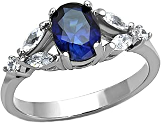 1000 Jewels Twilight: 1.96ct Simulated Blue Sapphire Crystal Split Band Engagement Ring 316 Steel, 3239B