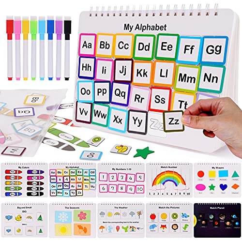 HAN-MM Preschool Montessori Toys with 8 Color Marker Toddler Toys for Kids Learning Toys Busy Board Busy Book Toddler Learning Binder Sturdy for Toddlers Book Activity Educational