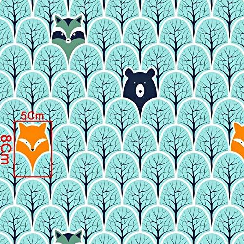 Pingianer 11,99€/m 100x160cm Fuchs 100% Baumwolle Baumwollstoff Kinder Meterware Handwerken Nähen Stoff (Fuchs Bär Schuppen, 100x160cm (11,99€/m))