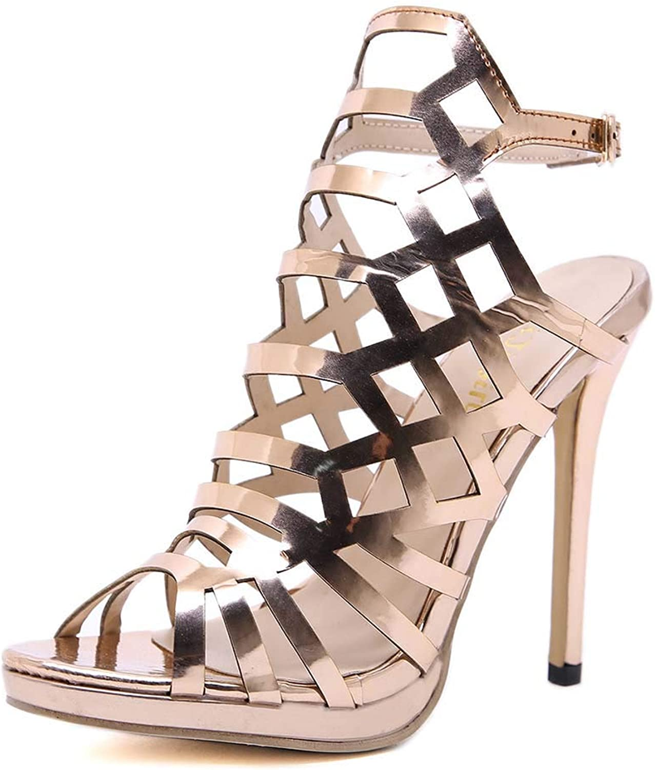 Women's Sandals Artificial PU gold Hollow high Heels Buckle Open Toe fine with Single shoes Spring and Summer New
