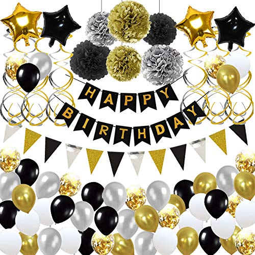 Toupons Geburtstagsdeko, Geburtstag Dekorationen für Männer Frauen Schwarz Gold Happy Birthday Banner Girlande Luftballons Spiralen Dekoration 113Pcs Geburtstag Party Deko Set