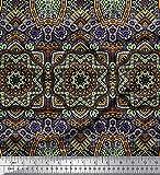 Soimoi Braun Satin Seide Stoff Mandala Kaleidoskop Stoff