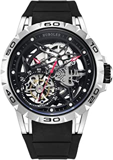 Huboler Automatic Watch for Men Skeleton Luxury Rubber Strap Waterproof Self-Wind