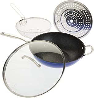 Curtis Stone Dura-Pan 5-Quart 4-piece Nonstick Chef's Skillet Set Model 638479 (Renewed)