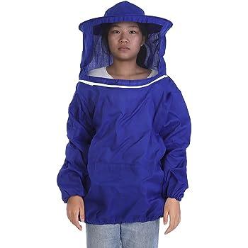 Beekeeping Jacket Veil Bee Keeping Suit Hat Pull Over Smock Protect Equip Blue