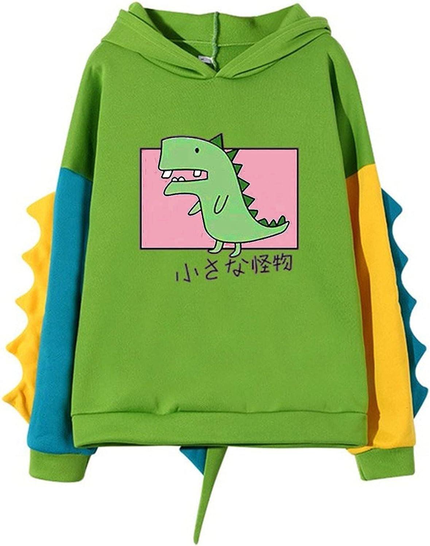 Toeava Women's Pullover Teens Girls Long Sleeve Splice Dinosaur Sweatshirt Tops Drawstring Pullover Tops