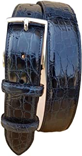 ESPERANTO Cintura in Fianco di Coccodrillo 35 mm - Blu (Tg 48- LUNG TOTALE 110 CM-GIROVITA 95 CM)