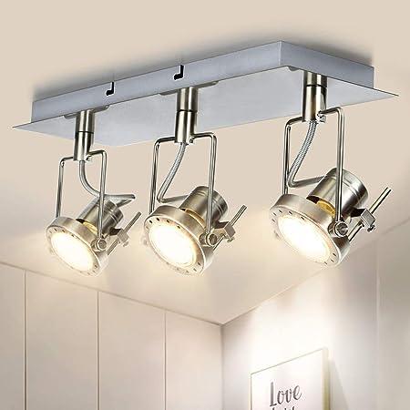 Depuley Plafonnier 3 Spots Led Orientables, GU10 Spot de Plafond Métal Industriel, Rectangulaire Nickel pour Cuisine, Chambre, Hall d'entrée, Salle à manger, Couloir et Escalier - 3 Ampoules Incluses