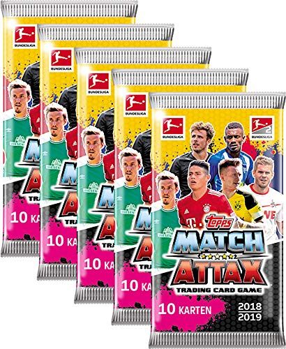 Topps Match Attax Bundesliga 2018/19 - 5 Booster a 10 Karten = 50 Stück