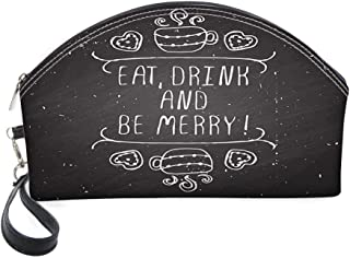 Half Moon Cosmetic Beauty Bag,Inspiration Calligraphy on Grunge Chalkboard Coffee Hearts for Women & Girls School Travel Office
