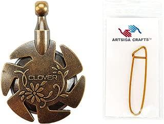 Clover Needlecraft Yarn Cutter Pendant Antique Gold Bundle with 1 Artsiga Crafts Stitch Holder 3105