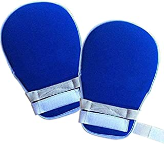 1 Pair Hand Finger Control Mitts Protection Gloves Loop Closure Prevent Self-Harm(Dark blue)