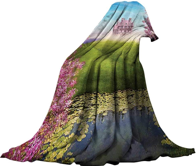 QINYAN-Home Lightweight Blanket (70 x60 ) Velvet Plush Throw Blanket Teen Girls Decor Fairy Tale Landscape with Castle Cheery Blooms Greenland Nature Romance.