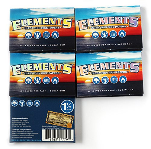 Elements 5 booklets x Ultra Thin Rice Paper Size 1 1/2 - Total 165 Papers