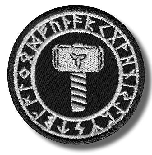 Thors martillo Triquetra runas-bordado parche, 6x 6cm