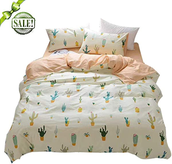 FenDie Potted Plants Bedding Queen Set 3 Piece Cactus Printed Duvet Cover Set Cotton Pale Yellow For Teens Girls