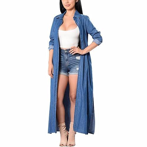 4f3a28f2ff Z Women`s Solid Denim Long Sleeve Shirtdress Lightweight Casual Loose Maxi  Long