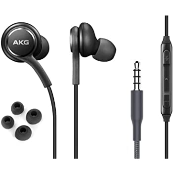OEM ElloGear Earbuds Stereo Headphones for Samsung Galaxy S10 S10e Plus Cable - Designed by AKG - with Microphone and Volume Buttons (Black)