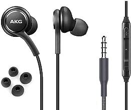 هدفون استریو OEM ElloGear Earbuds برای کابل Samsung Galaxy S10 S10e Plus - طراحی شده توسط AKG - با دکمه های میکروفون و میزان صدا (سیاه)