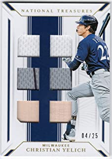Christian Yelich 2019 Panini National Treasures 6 Piece Jersey Bat Relic Holo Gold Parallel Serial #04/25 Milwaukee Brewers