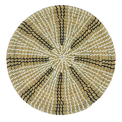 MARLIC Woven Basket Wall Décor – Handwoven Seagrass Bowl 13.8 IN Diameter– Stellar from Black and White Collection – Elegant Artisan Crafted Hanging Basket Decoration