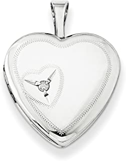 925 Sterling Silver 16mm Heart Diamond Photo Pendant Charm Locket Chain Necklace That Holds Pictures Fine Jewelry For Women