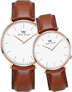 Welly Merck Couple Watches Valentines Day Gifts for Her His Pair Watch Swiss Quartz Movement 36 & 42mm Dial Light Brown Leather Interchangeable Band 50M Water Resistant