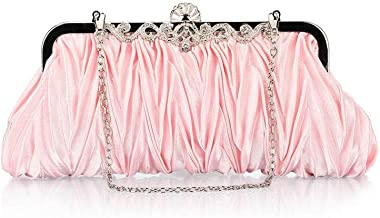 Bundle Monster Womens Vintage Satin Cocktail Party Handbag w/Shoulder Chain-LIGHT PINK