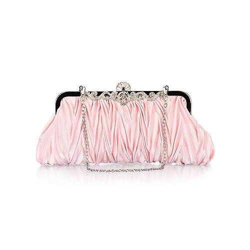 d88850f77eaf Bundle Monster Womens Fashion Classy Elegant Envelope Evening Purse Cinched  Vintage Satin Clutch Hand Bag