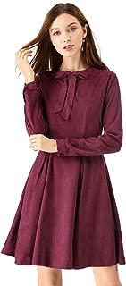 Allegra K Women's Vintage Tie Bow Neck Long Sleeve Swing A-Line Dress