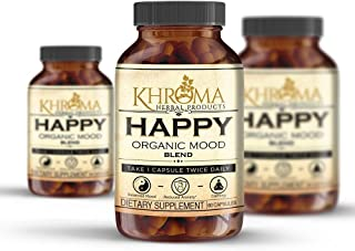 HAPPY Organic Mood Supplement - 60 Vegetarian Capsules - Feel Happy With the Power of Nature