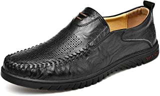 Xujw-shoes, Breathable Mens Loafer Leather Black Brown Driving Loafer for Men Boat Moccasins Slip On Style Microfiber Leather Round Toe Hollow Upper Durable Convenient