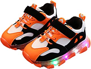Hopscotch Baby Boys and Baby Girls Pu Solid Fixed Lace Sneaker Led Shoes in Orange Color, UK:6 (Yuq-3198211)