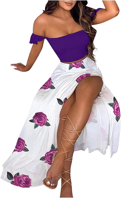 wodceeke Women's 2 PCS One Shoulder Split Sundresses Solid Tube Tops Print Dresses Casual Summer Dress Loose Short Skirt