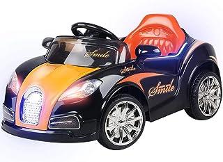 RIGO Kids Bugatti Inspired Ride On Toy Car 12V Battery Remote Control-Black and Orange