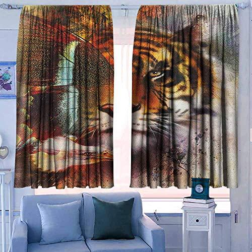 Decor kamer donker maken brede gordijnen isolerende kamer donker verduistering Drapes tijger schets tekening van Bengaalse koninklijke dier carnivoor grote kat met levendige kleuren ligth bruin zwart