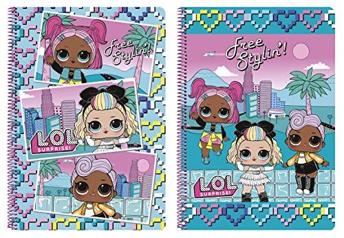 Cuaderno 80 Hojas de LOL Surprise! Hearts Oficial, Tapas Duras, 215x310mm