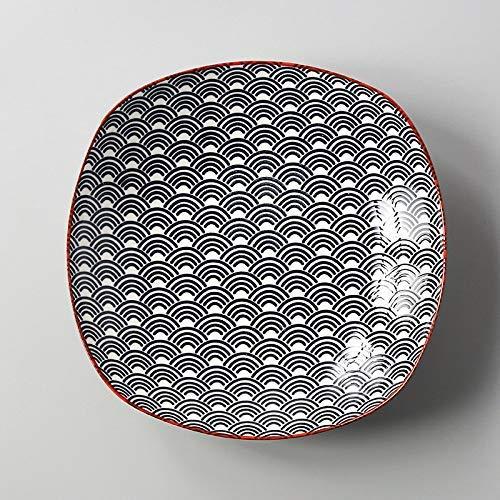 YAeele Estilo Europeo Cuadrado Simple del Estilo del hogar japonés y Viento Placa Esmalte de cerámica bajo el Plato Snack-Plate Plato Azul Cuadrado de la Onda Profunda de la Placa 19.6X4.5Cm Fácil de