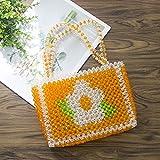 L Bolso de Perla de la peonía Retra de la Gala de Cristal Hecha a Mano Peony Pearl Woven Woven Fashion Banquete Party Top-Handle Bag New Tarde Bag Bolsa de Embrague (Color : Orange, Size : 20.5x16)