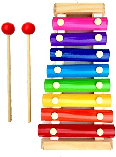 Happie Shopping Xylophone Musical Instruments Rainbow Colored One Octave of Notes Self Storing Wooden Mallets