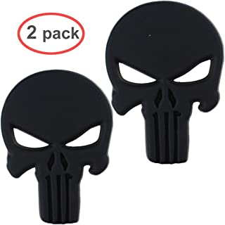 Hong 111 3D Punisher Decal,Chrome Car Metal Skull Sticker,Car Decals Stickers Black(2 pack)