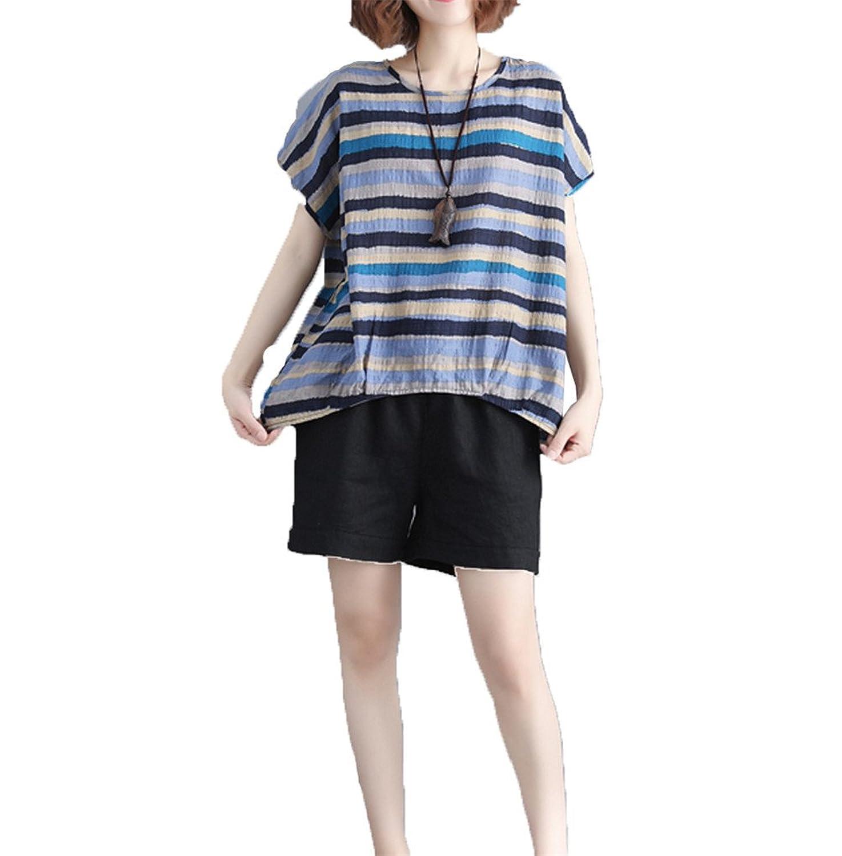[美しいです] レディーズ 半袖 ストライプ トップス ゆったり ブラウス クルーネック 大きなサイズ 気質 シャツ