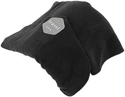 Airplane Traveling Neck Pillow Portable No Inflatable Travel Sleep Support Cushion Comfortable for Car Office Sleep Head Rest (Black)