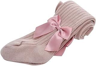 ZEZKT, medias de algodón para chica color sólido pantimedias otoño e invierno leggings con lazo calcetines de bebe medias de ballet danza para niñas