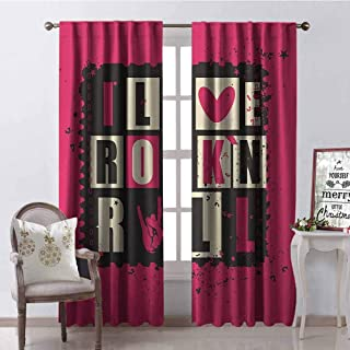 GloriaJohnson Retro Heat Insulation Curtain Vintage Letters I Love Rock n Roll on Grunge Poster Music Theme Art for Living Room or Bedroom W100 x L84 Inch Pink Charcoal Grey Beige