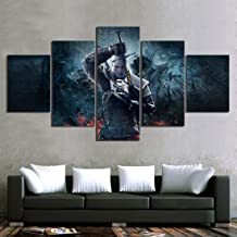 HSART Print Canvas Wall Art Modular HD Poster 5 Panel Geralt of Rivia The Witcher 3 Game Modern Picture Home Decor Painting Bedroom,B,30x40x2+30x80x1+30x60x2